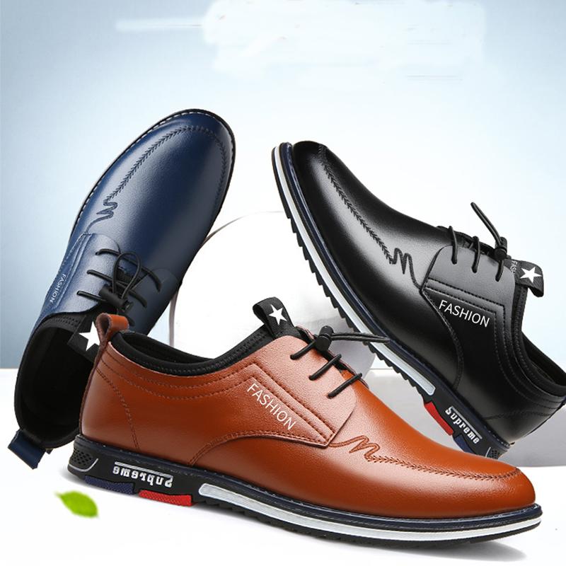 秋季真皮男士皮鞋休闲商务皮鞋潮流一脚蹬