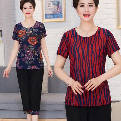 Mùa hè trung niên mẹ của phụ nữ phù hợp với 2 piece phù hợp với ngắn tay T-Shirt 7 quần trung niên casual loose phù hợp với phụ nữ Quần áo của mẹ