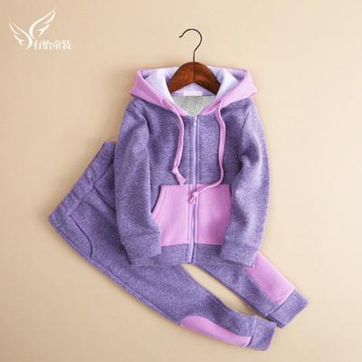 女童秋冬装套装新款时髦洋气春秋儿童装加绒运动卫衣两件套潮