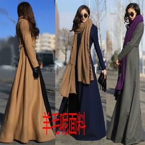 Len áo khoác nữ mùa thu và mùa đông dài Châu Âu và Mỹ tính khí mới siêu dài tự trồng len áo khoác dày mỏng áo gió