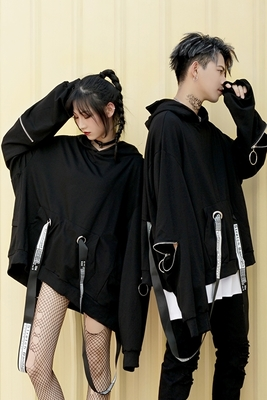 Guochao high street dark đen kích thước lớn quá khổ trùm đầu áo len nam giới và phụ nữ hip hop tide thương hiệu nổi băng thông thông hat BF Áo len