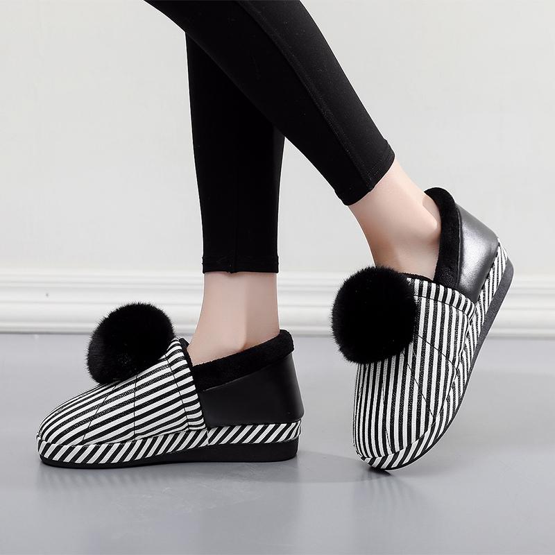 家居加绒保暖防滑厚底棉拖鞋