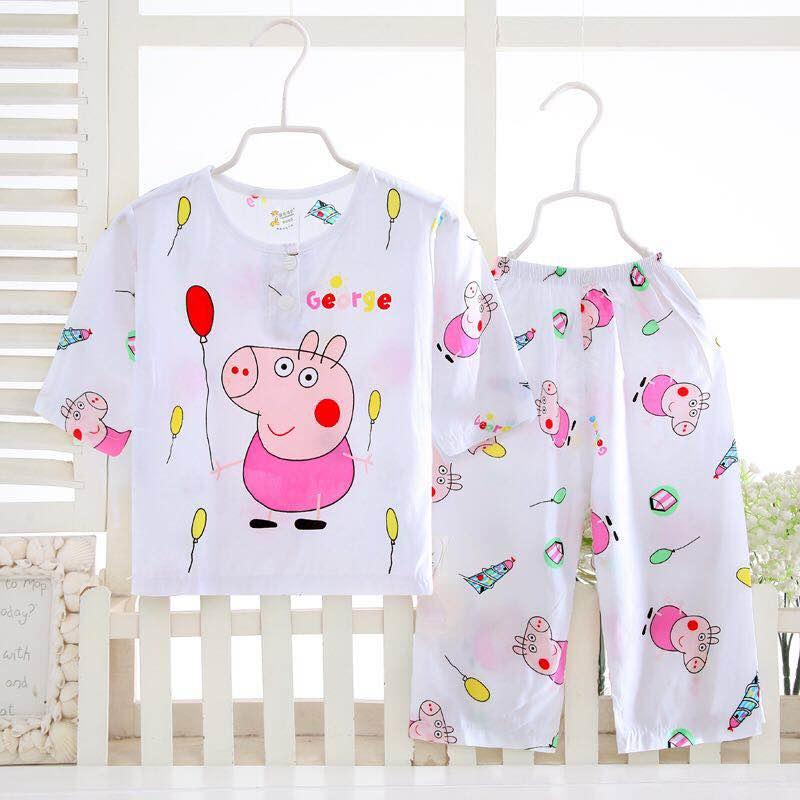 Mùa hè cotton trẻ em đồ ngủ đặt chàng trai và cô gái cotton lụa dài tay quần mỏng điều hòa không khí dịch vụ nhà bé