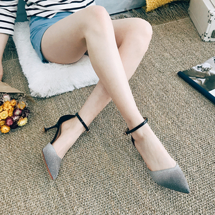 百搭猫跟凉鞋2018新款网红少女5CM仙女单鞋 春季细跟高跟鞋女夏季