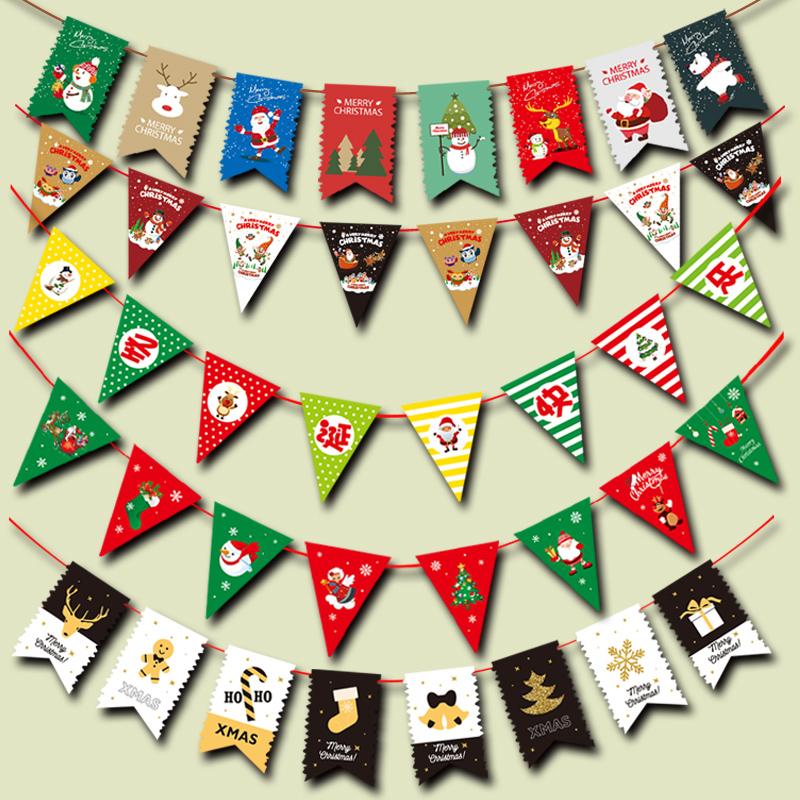 圣诞节装饰波浪旗吊旗挂件圣诞老人拉旗拉花挂旗商场店面场景布置