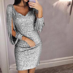 Платья мода женски платье пайетки кисточки юбка
