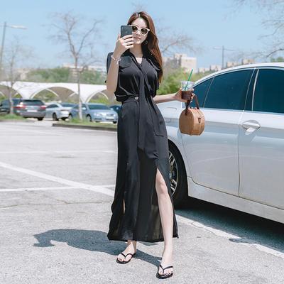女神范衬衫配裤子套装夏季女装新款潮显瘦雪纺连衣裤可拆卸女