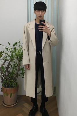 2018 mới mùa thu áo lỏng phần mỏng lớn ve áo xu hướng áo gió nam Hàn Quốc phiên bản của đoạn dài đầu gối của nam giới áo gió