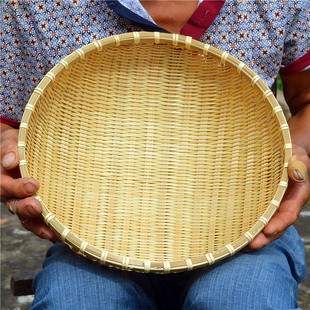 Household round bamboo woven basket for hand-made fruit basket