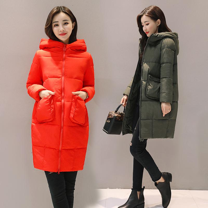 韩版纯色大码棉衣加厚外套连帽宽松胖胖袋