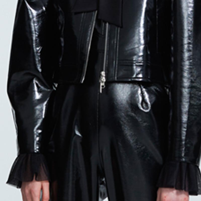 VEECO ZAHO 18AW-VV83 设计师品牌黑色仿皮PU皮短款长袖保暖外套