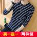 Màu đen và trắng sọc t-shirt nam dài tay phần mỏng Hàn Quốc phiên bản của mùa xuân và mùa thu mô hình loose đáy áo thanh niên vòng cổ bông t-shirt triều áo thun nam polo Áo phông dài
