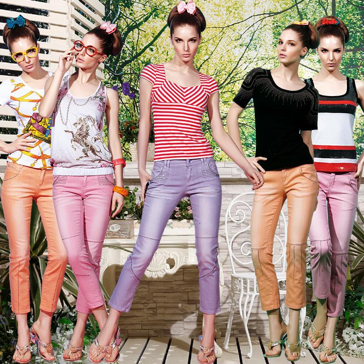 Mùa xuân và mùa hè Slim của phụ nữ trạm Châu Âu sức sống màu lão hóa chín điểm jeans kích thước lớn stretch 2018