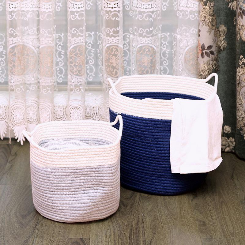 乐荷公园 洗衣篮脏衣篮北欧拼色棉线收纳筐玩具收纳家居洗衣篓