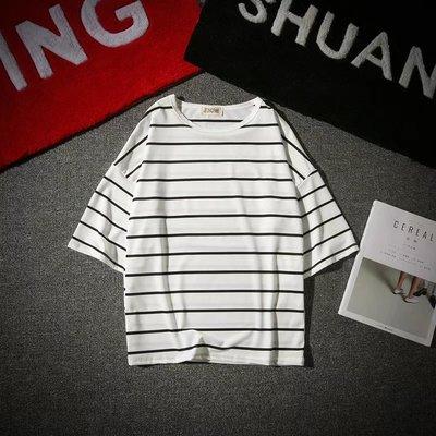 Mùa hè lỏng 7 bảy tay áo t-shirt nam Hàn Quốc phiên bản của xu hướng 5 năm tay áo nửa tay sinh viên lỏng hoang dã ngắn tay áo sơ mi