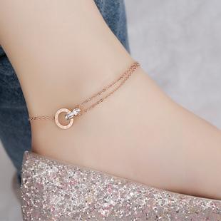 玫瑰金罗马数字镶钻锆石双环脚链