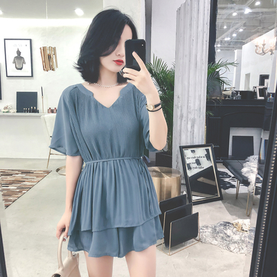 Chiffon air shorts suit women summer   new short thin gentle wind chic two-piece celebrity set