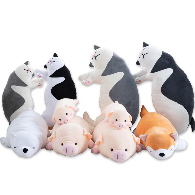 小猪毛绒玩具柴犬公仔可爱床上ins网红猫咪玩偶小熊大号生日礼物