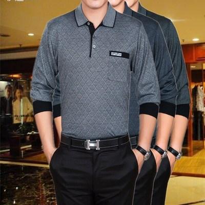 Trung niên băng lụa t- shirt mỏng dài tay t- shirt nam mùa hè lỏng từ bi bông ve áo áo sơ mi cha nạp bông áo thun nam polo Áo phông dài