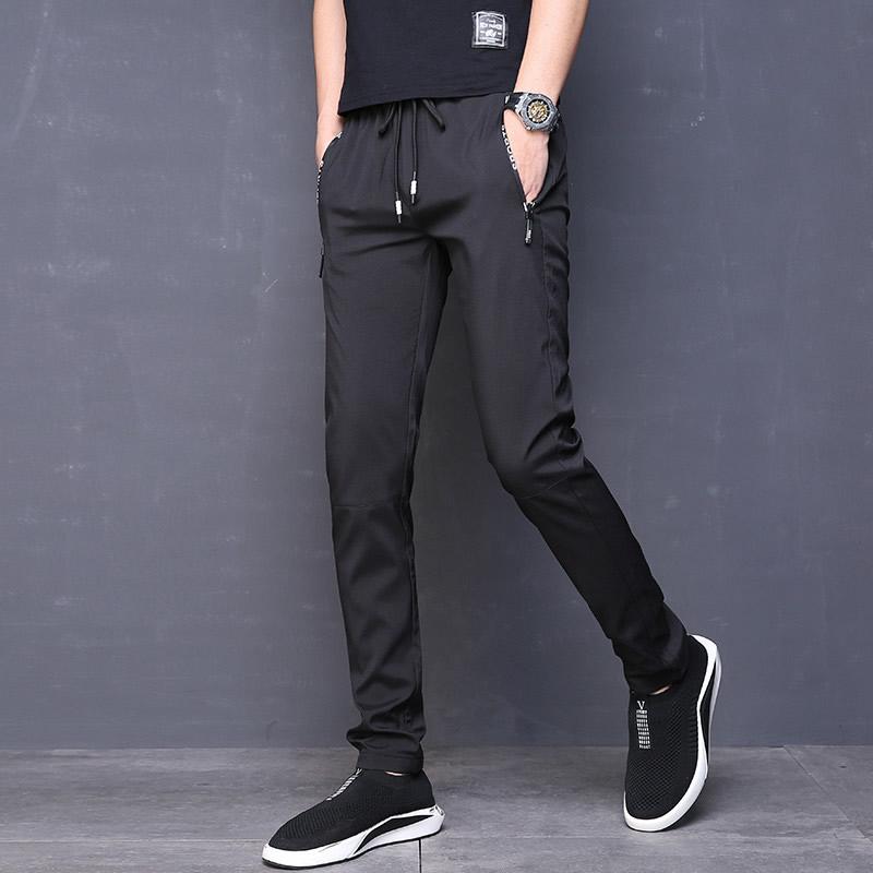 男装长裤弹力休闲裤秋季学生修身青少年潮速干裤小直筒薄款
