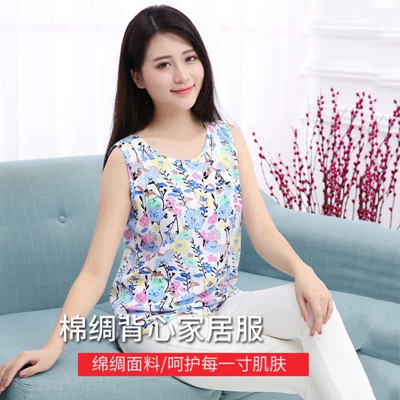 Mùa hè cotton lụa không tay top đồ ngủ mùa hè của phụ nữ phần mỏng cotton vest nhân tạo cotton dày mẹ ăn mặc có thể được đeo