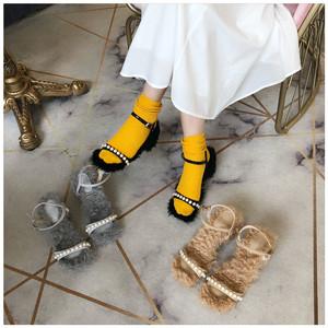 2018小公舉范珍珠涼鞋粗跟羊卷毛絲緞名媛涼鞋W136