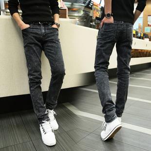 弹力牛仔裤男修身男士小脚裤黑色休闲男长裤