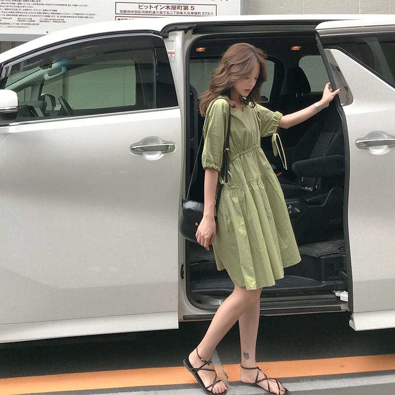 牛油果绿连衣裙女新款夏小清新娃娃裙收腰宽松A字短裙仙女裙
