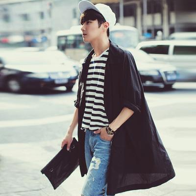 Mùa xuân của nam giới Hàn Quốc áo gió lỏng phần dài thanh niên cá tính siêu mỏng thoáng khí mùa hè dài quần áo chống nắng áo khoác Áo gió