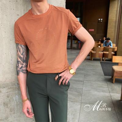夏季新款男士圆领短袖t恤修身潮流百搭半袖简约纯色打底衫潮T