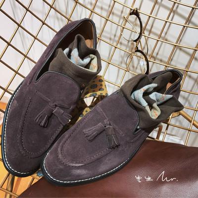 欧美流苏乐福鞋一脚蹬男士套脚懒人鞋英伦休闲复古皮鞋低帮鞋百搭