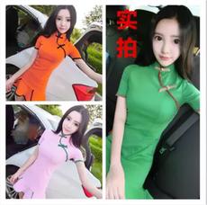 3050#2017年新款高雅美丽气质修身显瘦盘扣旗袍连衣裙