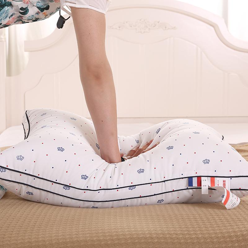 五星酒店印花枕头单人成人羽丝绒枕芯护颈忱头芯学生家用柔软舒适