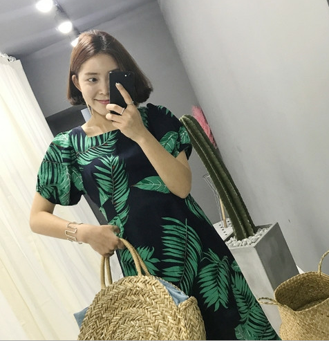 Korean Summer Fashion Elegance Tropical Floral Collar Short Sleeve High Waist Female Dress
