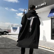 2018春韩版中长款大衣修身套头印花暗黑系防水抽绳防风衣男潮外套