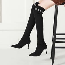 2018新款加绒女长筒靴子显瘦靴细跟女靴子高跟靴弹力靴时2666-8