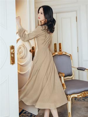 秋季流行连衣裙新款女夏天智熏法式复古桔梗修身超仙女长裙子