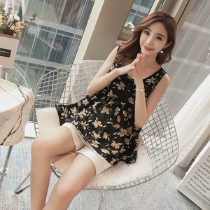 Phụ nữ mang thai voan áo sơ mi Hàn Quốc đoạn ngắn lỏng mùa hè phần mỏng hoa vest dây đeo phụ nữ mang thai voan áo sơ mi mùa hè áo sơ mi