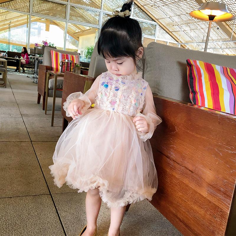 宝贝小象春季新款洋气复古闪光珠片连衣裙长袖女童宝宝公主裙