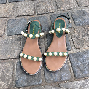 2018坡跟涼鞋女夏新款中跟珍珠鞋露趾鏤空韓版學生