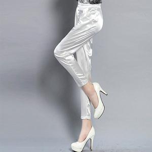 Mùa xuân và mùa hè mới quần harem lụa nữ chất béo mm chín quần mỏng quần âu là mỏng chân quần giả satin lụa quần mùa thu