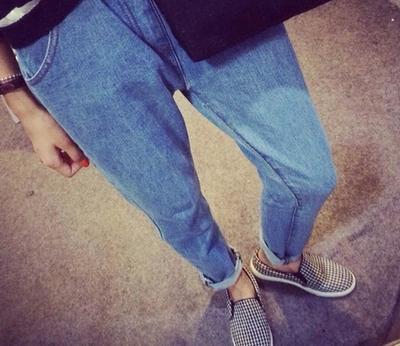Mùa xuân và mùa thu Hàn Quốc phiên bản của lỏng jeans nữ eo đàn hồi hậu cung quần kích thước lớn chất béo mm sinh viên hoang dã chín điểm quần triều