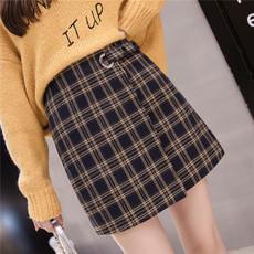 实拍秋季新款加厚包臀毛呢格子裙复古半身裙韩版高腰A字短裙