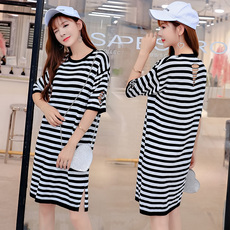 实拍韩版条纹孕妇装宽松大码孕妇连衣裙