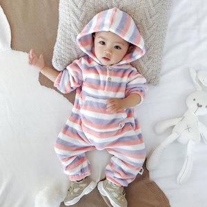 女婴儿连体衣秋冬睡衣保暖哈衣