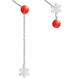 小麋人红珠雪花长短S925纯银不对称耳钉
