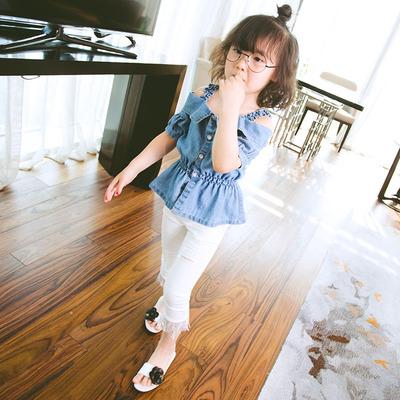 女童短袖t恤 新款儿童牛仔洋气轻薄童装中大童夏装纯棉打底衫