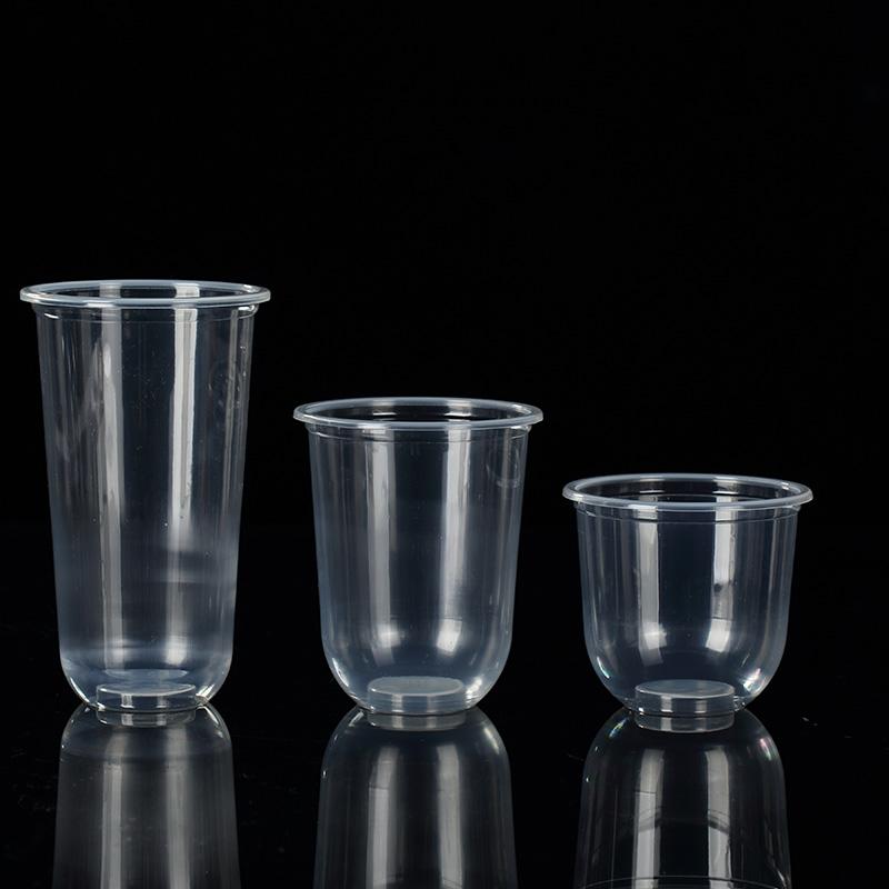一次性90口径奶茶杯塑料杯Q杯胖胖杯酸奶果汁U型加厚水果饮料杯