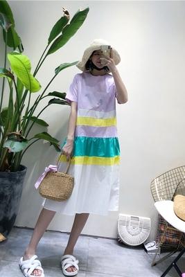2018 mùa hè mới Hàn Quốc thời trang khảm màu sọc vòng cổ ngắn tay lỏng đoạn dài sen váy Sản phẩm HOT
