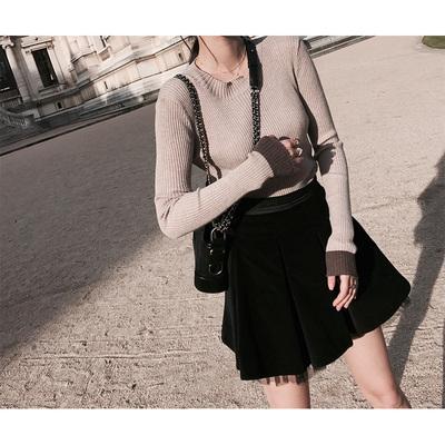 可脱卸网纱裙A形褶蓬蓬裙张大奕短裙春女新款黑色半身裙子